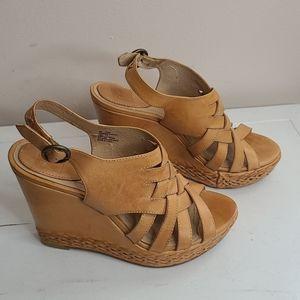 Frye tan leather Corrina wedge